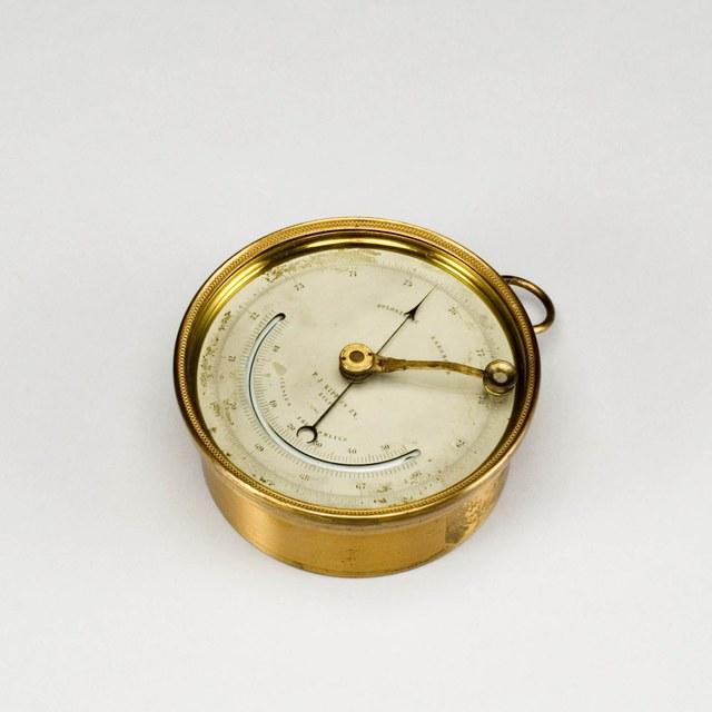 Franse aneroïde metaalbarometer naar Vidie, met kwikthermometer