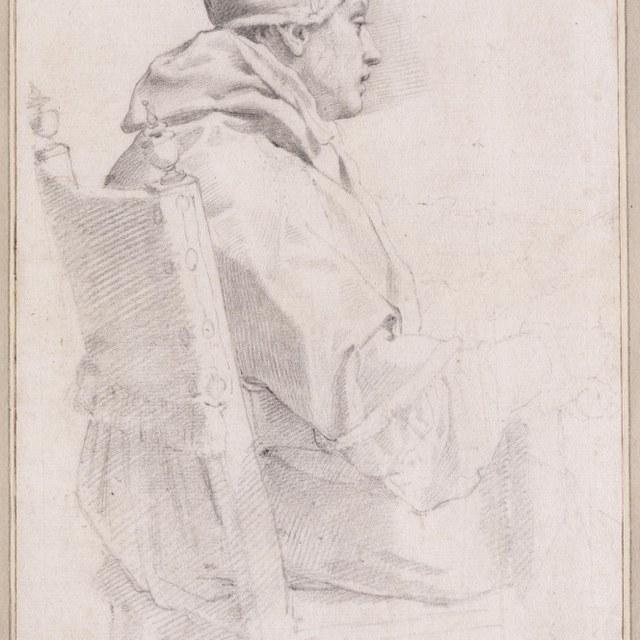 Zittende paus, halffiguur naar rechts