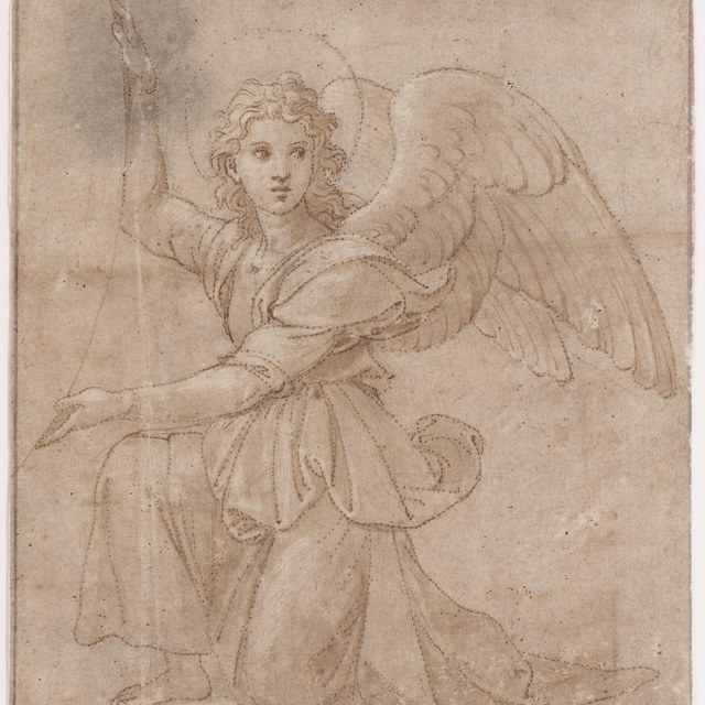Geknielde engel, een medaillon steunend