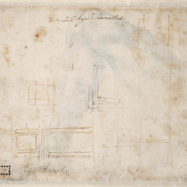 Architectuurschets voor de vestibule van de Biblioteca Laurenziana