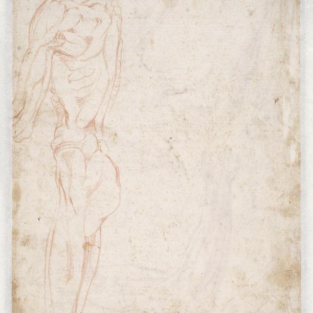Studie van een knielende man, linkerzijde