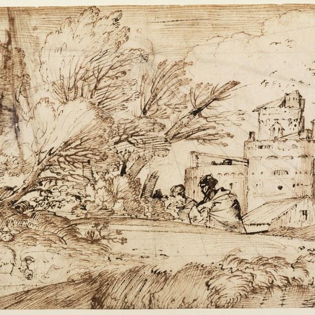 Landschap met mannen en gebouwen; kopschetsen