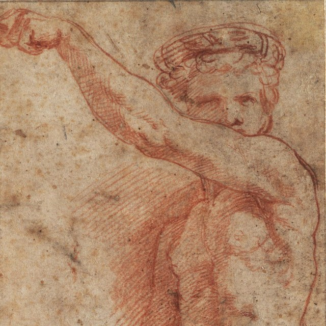 Herme met opgeheven linkerarm, de rechterarm omlaag