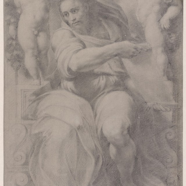 Profeet Jesaja geflankeerd door twee putti
