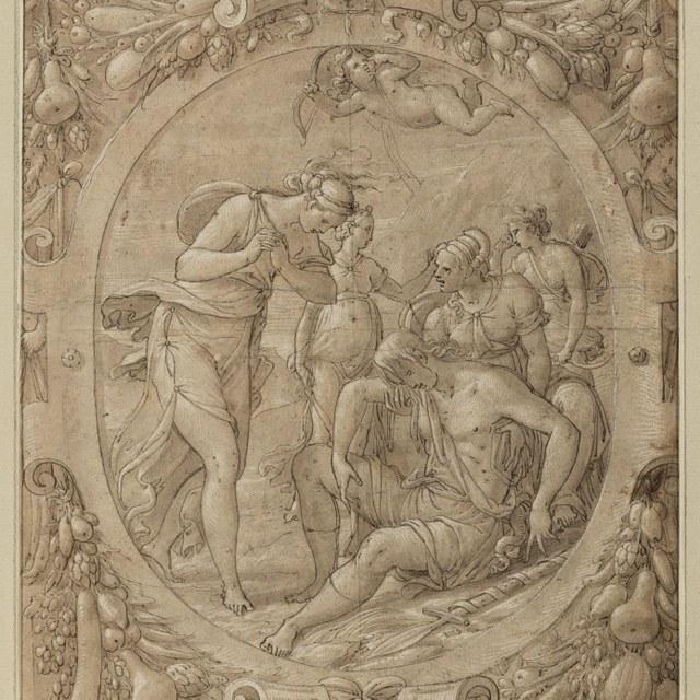 Venus en nimfen bewenen de dode Adonis