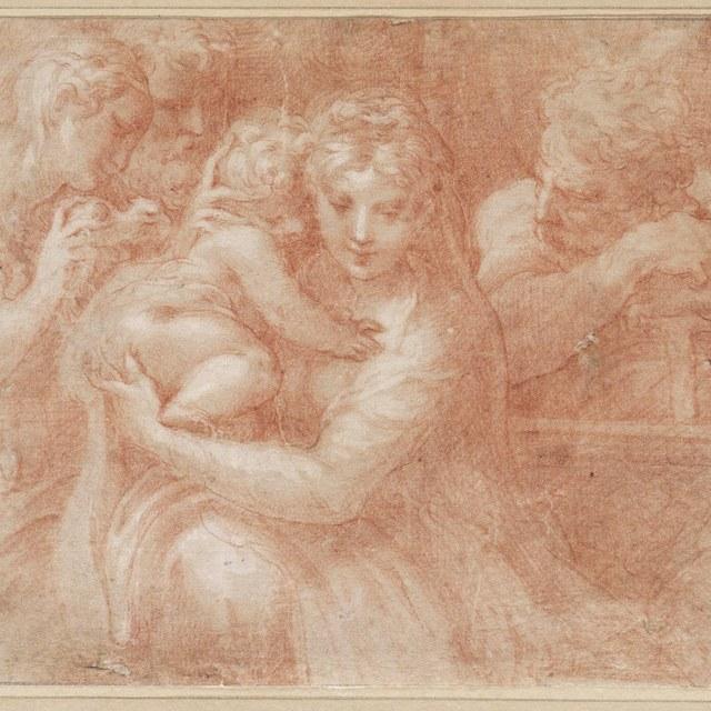 Heilige Familie met Magdalena en tweede heilige