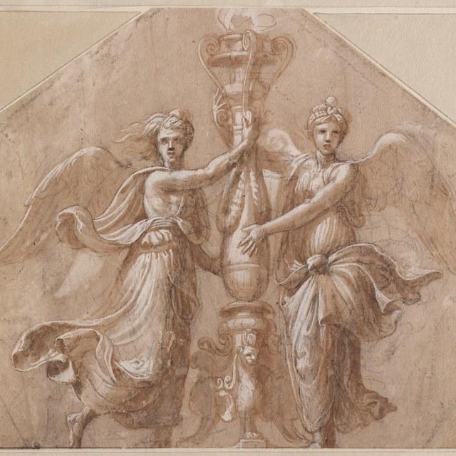 Twee engelen bij een kandelaber