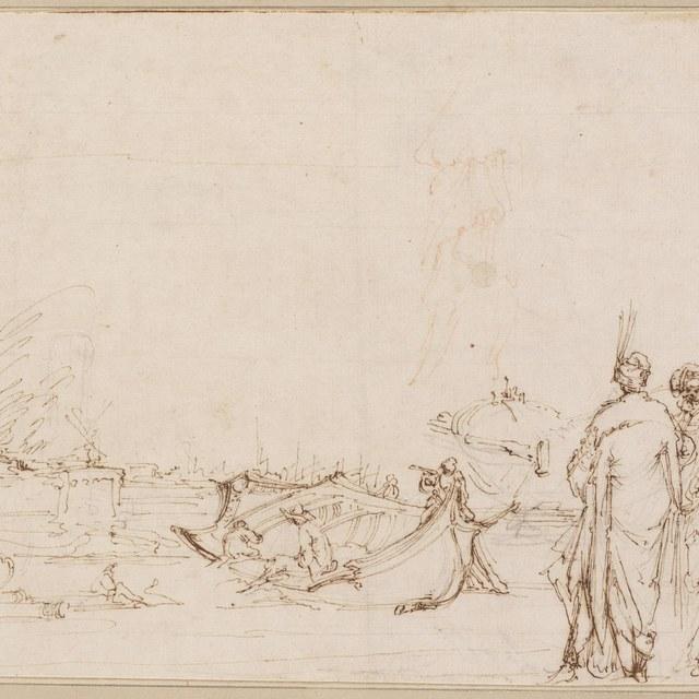 Drie mannen staand bij een scheepswerf