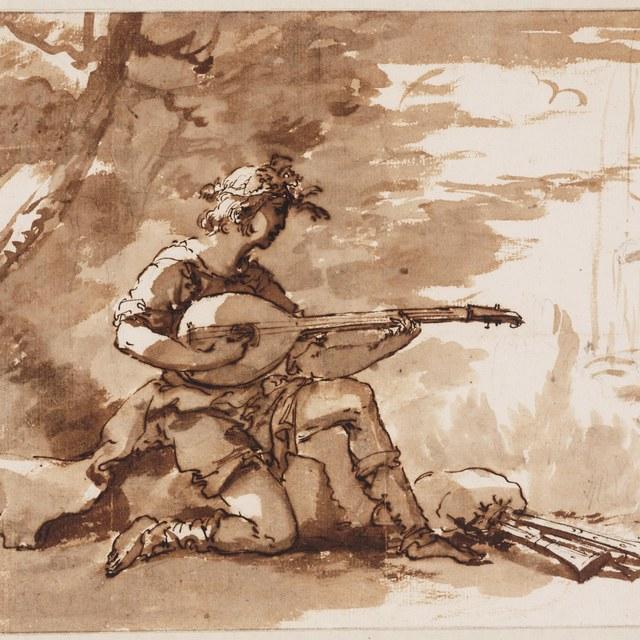 Luitspelende jonge herder in landschap