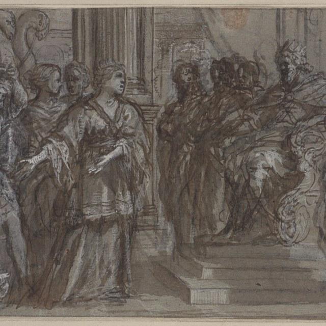 De koningin van Seba voor Salomon