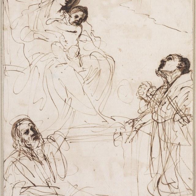 Madonna met heiligen Andrea Corsini en Matthias