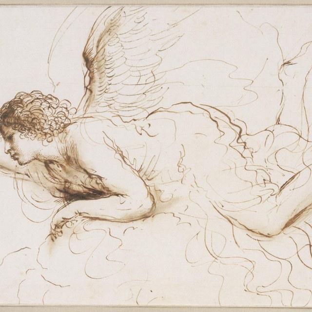 Engel, rustend op wolken