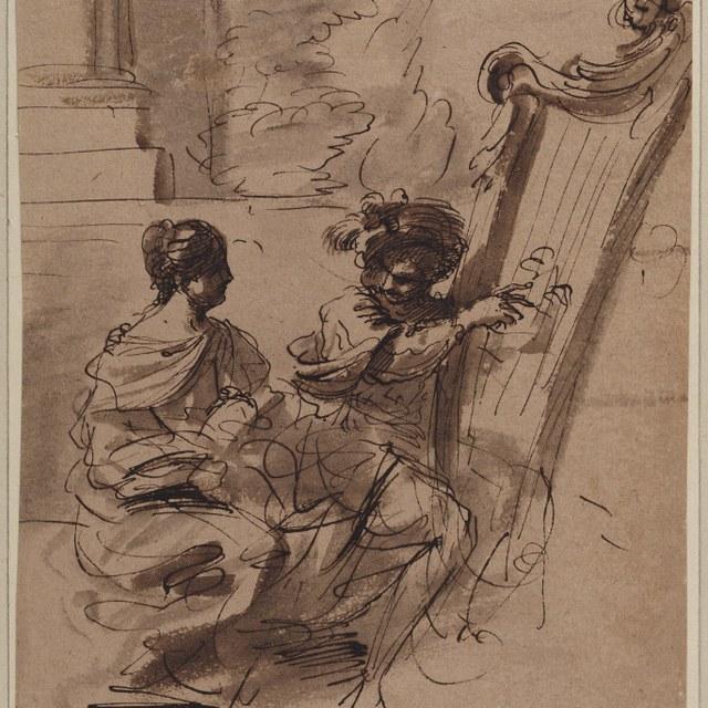 Harpist en vrouw met bladmuziek, zittend in park