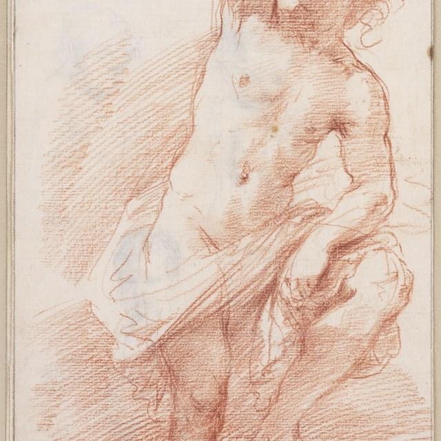 Mannelijk naakt, kniestuk, staand, de arm geheven