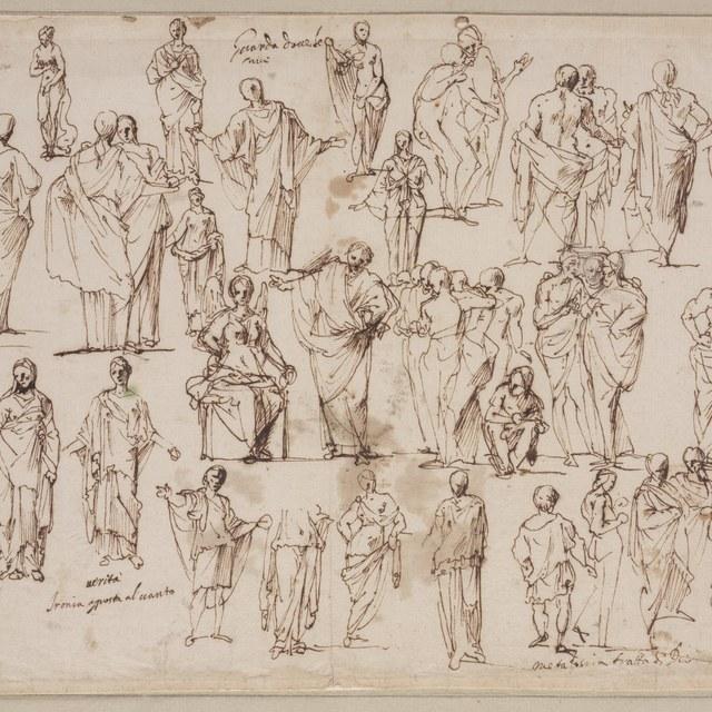 Studieblad met vele figuren en figuurgroepen