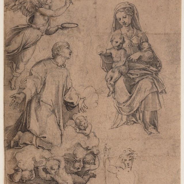 Madonna en Kind in glorie met een heilige diaken