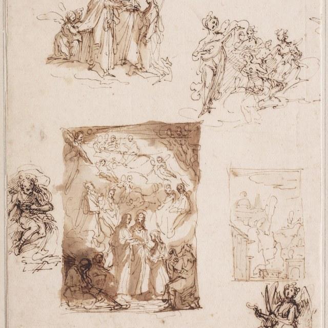 Schetsblad met studies voor Mystiek huwelijk