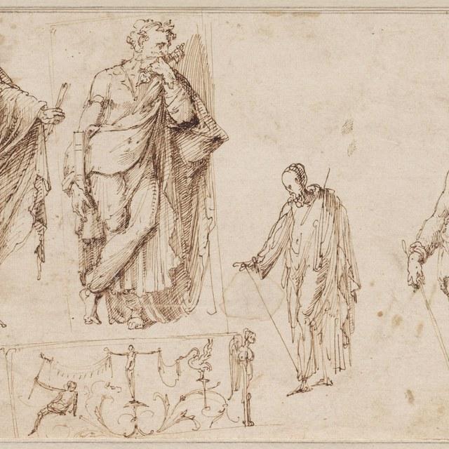 Schetsblad: Paulus en Petrus, grotesk-ornament