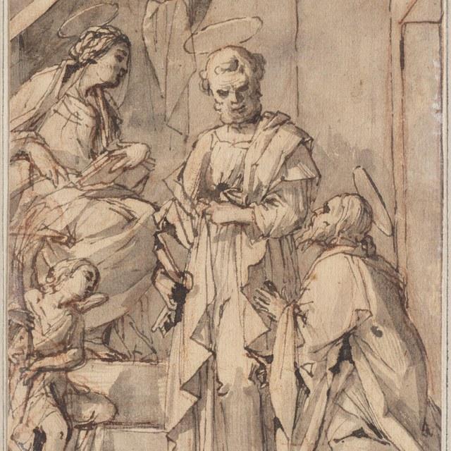 Petrus met twee heiligen en een engel