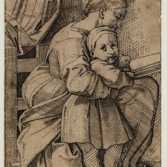 Moeder, lezend, en kind