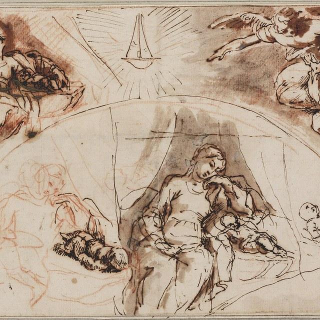 Maria slapend bij het Kind; Jozef gewekt door een engel