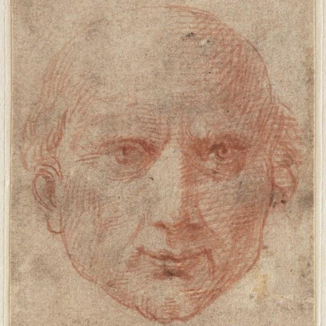 Portretkop van een geestelijke, aanziend