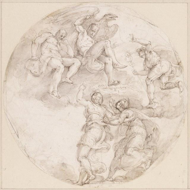 Psyche door andere godin voor Jupiter gevoerd