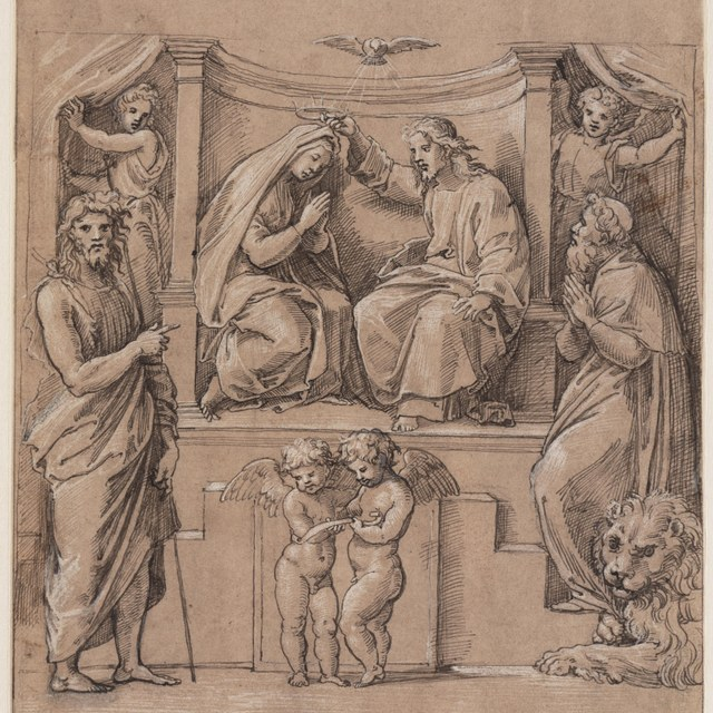Kroning van Maria met de heiligen Johannes de Doper en Hieronymus