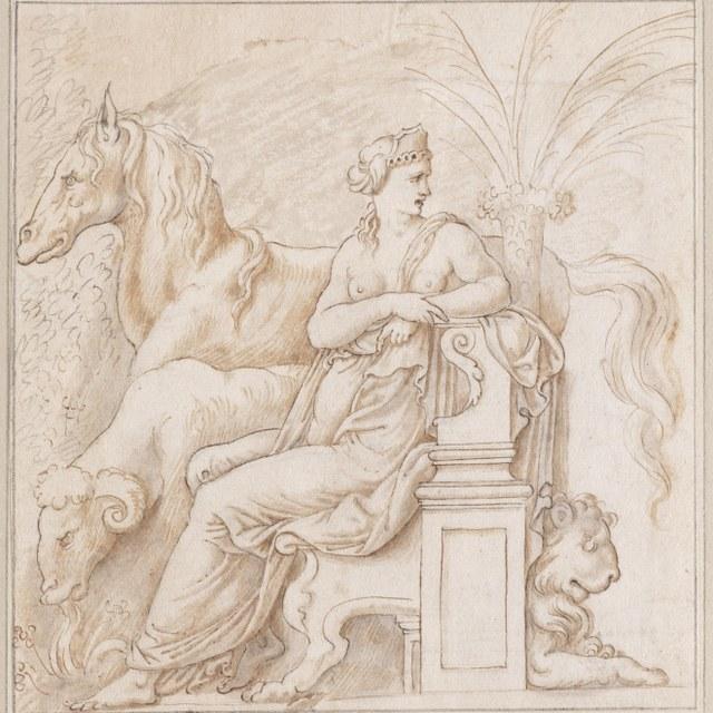 Zittende vrouw met ram, paard en leeuw