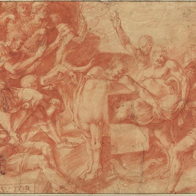Phalaris van Agrigentum laat Perillus sluiten in zijn bronzen stier