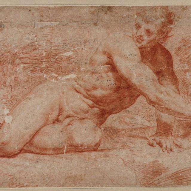 Mannelijk naakt, halfliggend naar rechts, in landschap