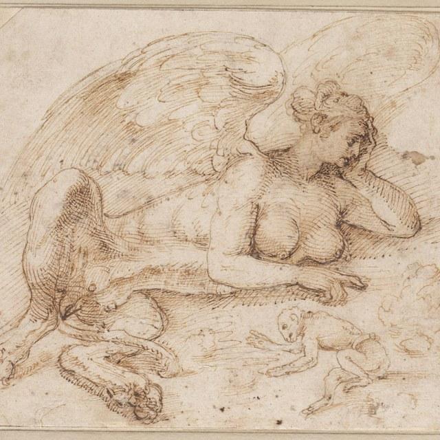 Liggende sfinx met een aapje