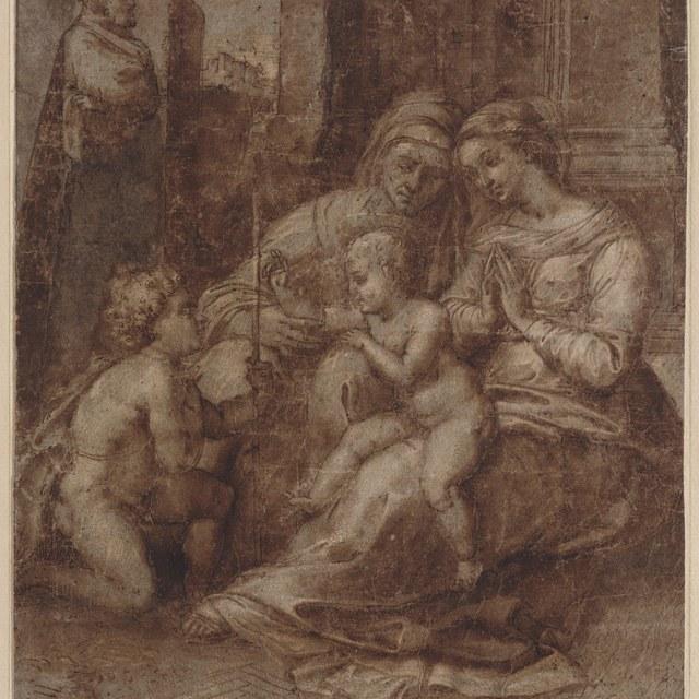 Heilige Familie met Elizabeth en Johannes (Madonna del divino amore)