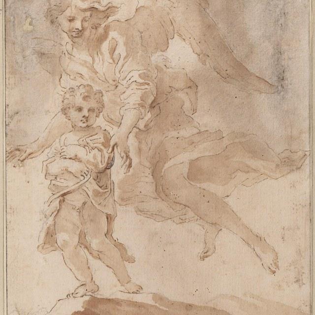 Kind (menselijke ziel?) met beschermengel