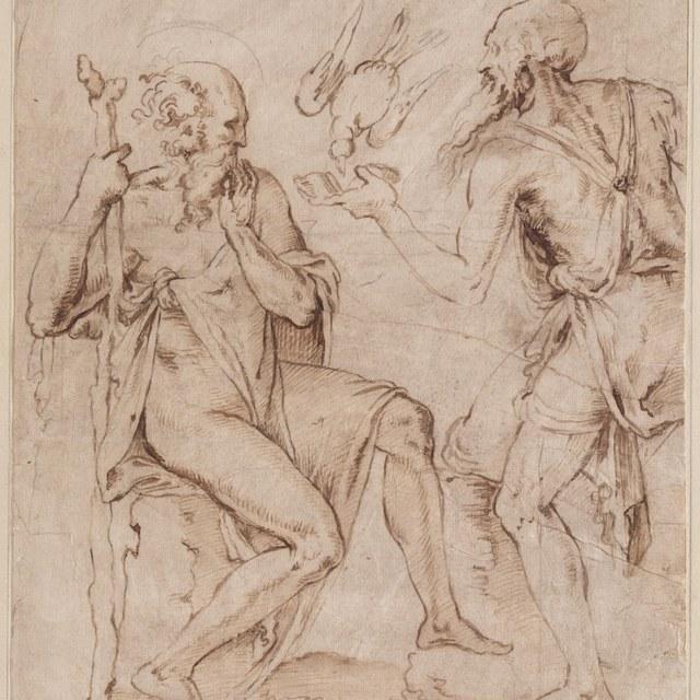 Heremieten Antonius en Paulus gespijzigd door een raaf