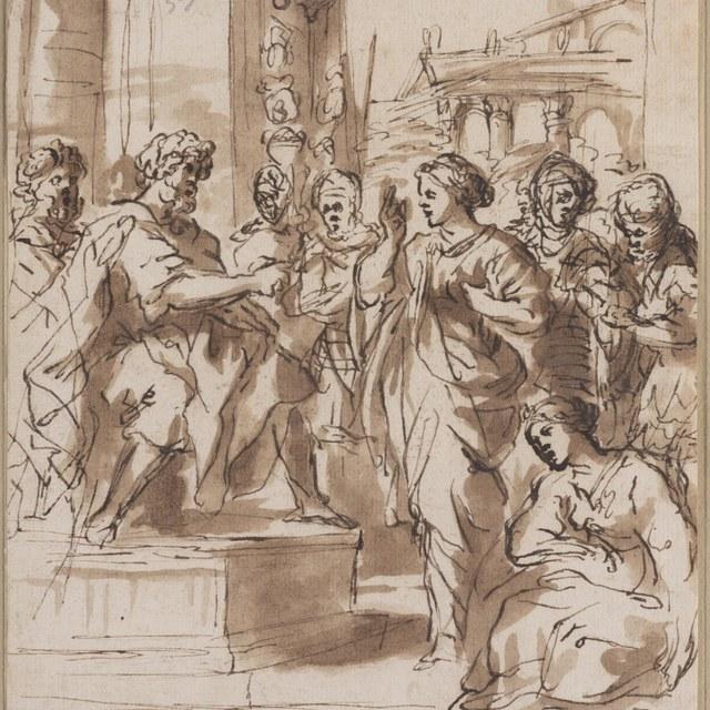De heiligen Bibiana en Demetria voor Apronianus