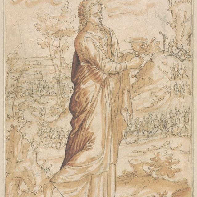 Johannes de Evangelist, met kelk, in een landschap
