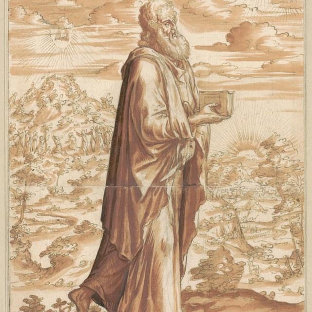 Bartholomeüs de apostel met boek en mes in landschap
