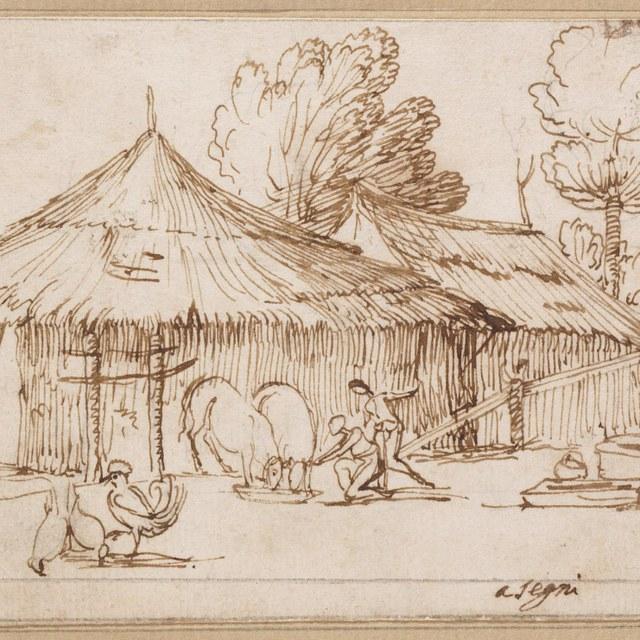 Boerenfamilie bij hut