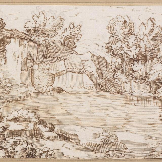Rivier met rotsbrug