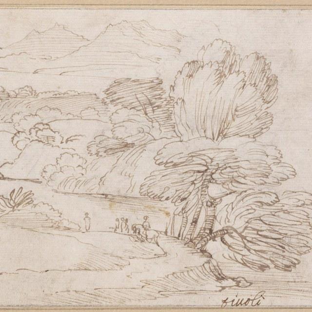 "Oeverlandschap, inscriptie ""Tivoli"""