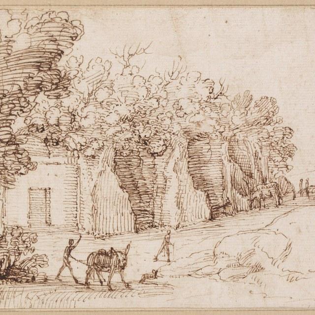Woningen in rotswand, op voorgrond ezel en figuren