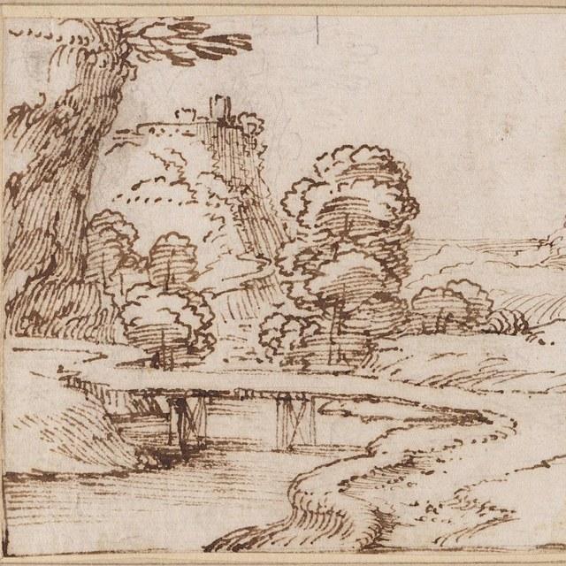 Klein landschap met brug, boom en rots
