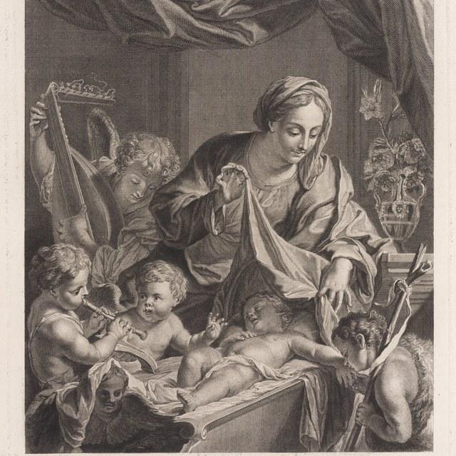 Maria met kind in wieg