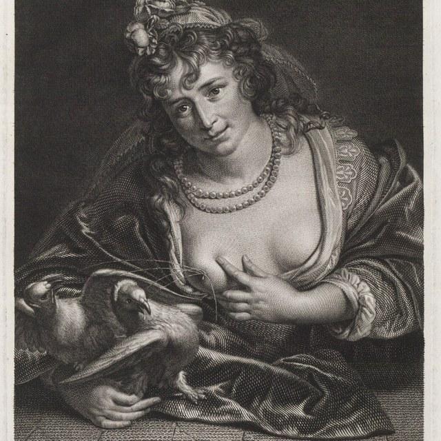 Venus voedt twee duiven