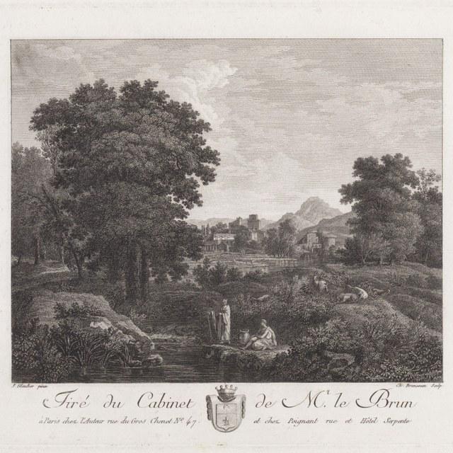 Landschap met figuren bij rivier