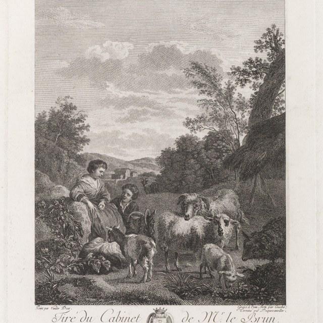 Landschap met herderin en beesten