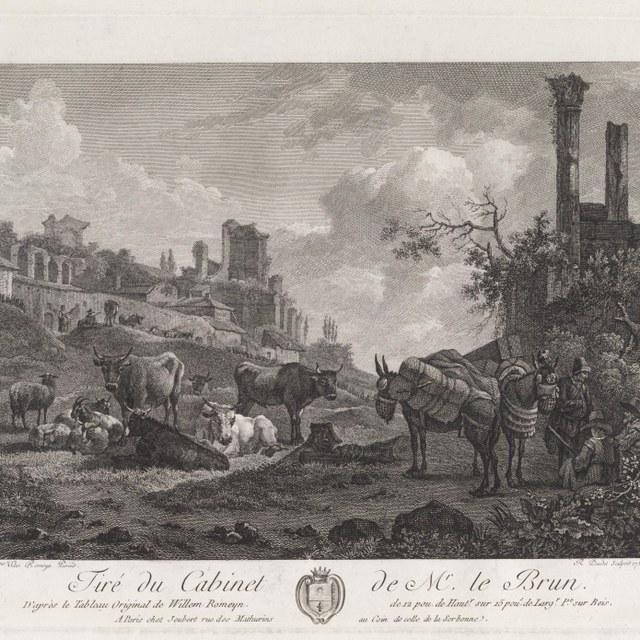 landschap met ruine, figuren en pakezels