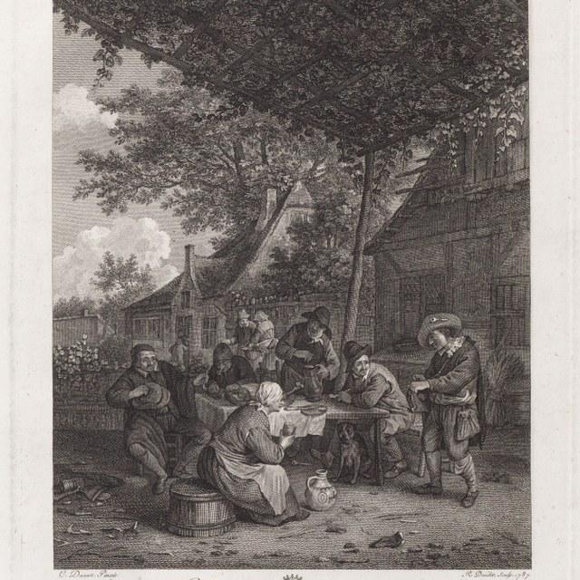 Muzikant spelend voor boerengezelschap