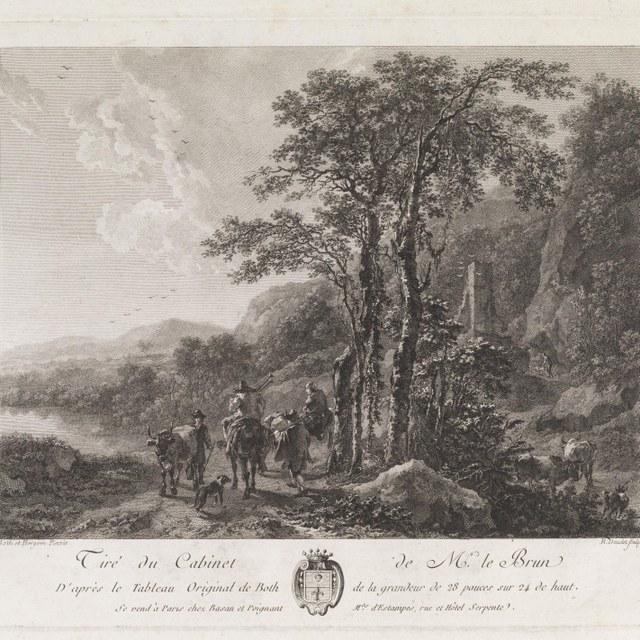 Landschap met figuren en vee